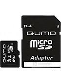 Карта памяти QUMO microSDXC UHS-1 64GB + адаптер (QM64GMICSDXC10U1)