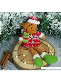 Мягкая игрушка Зимнее волшебство Мишутка в кофте с пуговками 25 см (красный)