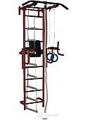 Детский спортивный комплекс Крепыш пристенный с брусьями-1 с ПВХ покрытием (бордовый)